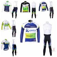 オリカエッジグリーンチームサイクリングロングスリーブジャージービブパンツセットサイクリングジャージーMTBバイクマイロットロックレーシングブランドROPA CICLISMO 102637