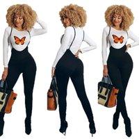 Sexy Trainingsanzüge Hosenträger Set Solide Farbe Gedruckt Langarm Slim Leggings Street Style Zwei Teile Anzüge 2021