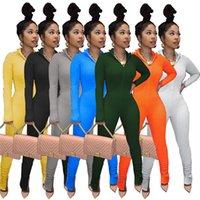 Женщины с длинным рукавом складки Rompers XL Bodysuit Сексуальный комбинезон Элегантные комбинезоны Простые леггинсы сплошной цвет осенью зима повседневная одежда 4313