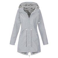 Великобритания Женщины Водонепроницаемый Плащ Дамы Длинный Рукав Требовины Открытый Ветер Дождевое Лесное пальто Зип Плюс Размер S-5XL