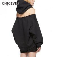 Chicever Черные женские толстовки с капюшоном с капюшоном с длинным рукавом молния без спины с плечом толстовка весенняя мода одежда новая LJ200808