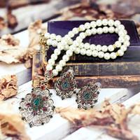 SunSpicems Gold Color Color Turkish Pearl Catena Collana Set di orecchini Set di orecchini per donne marocchino etnico gioielli da sposa regalo da sposa