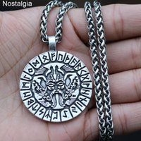 Odin Amulett Rabe und Wolf Talisman Jewlery Wikinger Runen Anhänger Männer Halskette mit Valknut-Symbol auf dem Rücken eingraviert