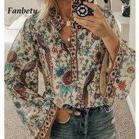 Fanbety Artı Boyutu Sonbahar Chic Bluzlar Kadınlar Tavuskuşu Çiçek Baskı Uzun Kollu Gömlek Kadın Rahat V Yaka Boho Bluz Tops Bayan1