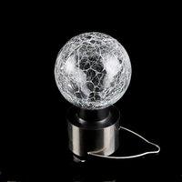 Crackle Ball Colgante Lámpara Mini vidrio Acero inoxidable Energía solar Decoración de jardín Lámparas colgantes Popular Portátil Venta caliente 4 2HJ J1