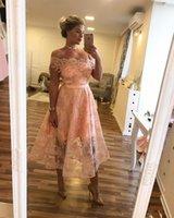 2021 Короткие дешевые румянские розовые платья выпускного вечера с плеча линия кружевные аппликации чайное платье чайное платье платье вечернее платье невесты формальное платье