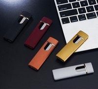 Зажигалки ветрозащитные электронные зажигалки Беспрепятственный светодиодный сенсорный экран выключатель зажигалки портативный красочный USB аккумуляторный подарок FFC4078
