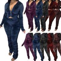 Femmes automne hiver extérieur sport décontracté velours solide velours de deux pièces ensemble et pantalon SuperSuit SweatSuit tenues
