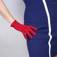 خمسة أصابع قفازات 21CM من جلد الغزال مضاهاة مضاهاة الجلود الدافئة سليم اليد كبيرة الأحمر الظلام عيد الميلاد WJP27-211