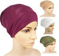 Mujeres Modal Cap Pure Color Lady Fashion Elasticity Mercerization Base Caps musulmanes SHORT HIJAB VENTA CALIENTE 2 82KC J2