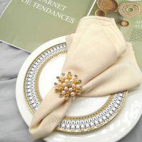 Serviette Ring Metall Runde Blume Perlenserviette Ringe Halter Für Weihnachten Hochzeit Party Dinner Tischdekoration