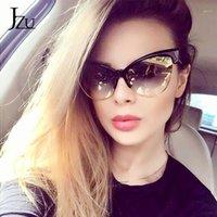JZU 2020 новый бренд дизайнер Cateye Солнцезащитные очки Женщины Cat Eye Солнцезащитные очки Мода Леопард Винтаж Металл Ретро Люнют De Sol UV4001