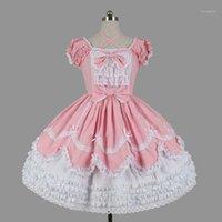 Тема костюм индивидуальные 2021 сладкие женские слоистые лолиты платья Хэллоуин с коротким рукавом хлопок лук косплей для девушки 3 цвета1