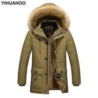 Yihuahoo Veste d'hiver Hommes 4XL 5XL Coton coupe-vent épais Poiserie chaude Parka Casual fourrure à capuche à capuche en molleton mâle brise-vent Men1