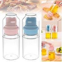 Top vendendo produto escova de silicone cabeça controlável escova de óleo garrafa cozinha alta temperatura suporte transparente dropshipping