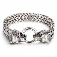 Rock viking lobo charme pulseira de aço inoxidável 20.5cm 22.5cm malha corrente de ouro lobo punk braceletes jóias1