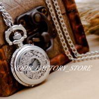 New Quarz Vintage Kleine weiße Stahlfarbe Blatt Blume Flip Tasche Halskette Pullover Kette Student Pocket Watch Mode Uhr Kupferfarbe