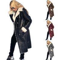 Женщины Плюс Размер Кожаная Искусственная кожа PU Чистящие Осень Зимняя Одежда Теплая Пальто Утолщение Кардиган Сексуальная Клуба Куртка S-5XL Толстовка 0705