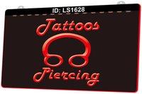 LS1628 Tattoos Piercing Ring Body Shop 3D-Gravur LED-Lichtzeichen Großhandel Einzelhandel