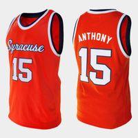 Syracuse Orange College Carmelo Anthony Retro # 15 الرجعية كرة السلة جيرسي الرجال مخيط رقم العرف اسم الفانيلة