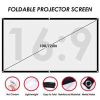 Écrans de projection 100 / 120Inch Écran du projecteur Écran large Angle de vision pliable Films portables anti-pli pour la maison Théâtre de la maison1