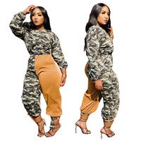 Женские трексуиты 2 кусок наборы в стиле африканская одежда осень зима о-шеи с длинным рукавом камуфляж контрастный цвет спортивный повседневный костюм для Wom