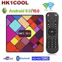 HK1 멋진 Android 9.0 TV Box RockChip RK3318 쿼드 코어 4GB 128GB 2.4G / 5G 듀얼 와이파이 미디어 플레이어 USB3.0 Android 10.0 셋톱 박스 스마트 TVBox 설정