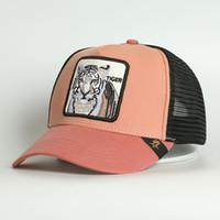 Custom 5 Panel Panel Pink Cotton Animal Logo Berretto da baseball ricamato Tiger Patch Maglia Cappello da camionista per entrambi Cappello da uomo Cappello da donna