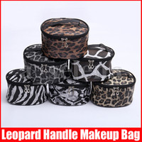 Leopard Print Large Makeup Cosmetic Bags Case with Handle To...
