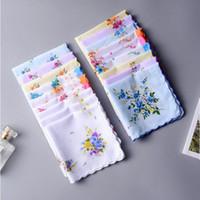 Хлопковые полотенца полотенца Дамы Цветочные Цветочные платфорки Украшения Ткань Салфетки Ремесло Урожай Hanky Oman Свадебные подарки YHM934-ZWL