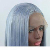 Ombre hellblau mix grau lange gerade handgebunden synthetische spitze frontperücke glueless hitzebeständige faserhaare für schwarze weiße frauen Perücken
