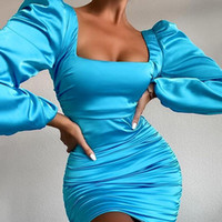Chifrena Sexy Bodycon Bodycon Rucchitato Dress Donne Lantern Sleeve Backless Woman Abiti Quadrato Colletto Nightclubs Abbigliamento da sera Abbigliamento