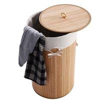 Stati Uniti Spedizione gratuita Bamboo Materiale di bambù pieghevole Color Color Color Lavanderia Basket Panno Borse con coperchio