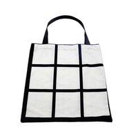 Sublimation weiß leer DIY 9 Gitter Pfirsich Skin Samt Tasche Einzelseiten Wärmeübertragung Einkaufstaschen CLLA94