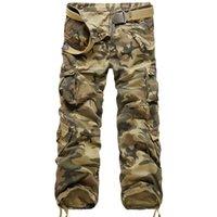 Yeni Marka Kargo Pantolon Erkekler Askeri Düz Pantolon Erkek Casual Pamuk Kamuflaj Çoklu Cep Pantolon Man Koşucular Hip Hop Uzun Trouers X1116