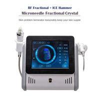 두 손잡이 얼굴 치료 분수 RF 마이크로 니켈 기계 여드름 치료 주름 제거 얼음 해머 뷰티 장비