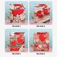 Valentine Gift Bag Branco Kraft Papel Saco Coração Impresso Casamento Aniversário Favores Favores Suprimentos Sacos de Presente S M L 233 N2