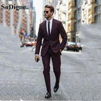 Costumes pour hommes Blazers Sodigne Bourgogne Mariage Tuxedo pour le marié 2 pièces Slim Fit Hommes Set Châle Vapel Custom Business Veste professionnelle avec pantalon