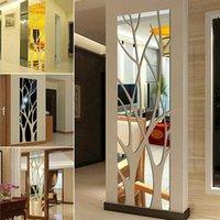 Duvar Çıkartmaları Ağacı Şekilli Sanat 3D Ayna Sticker Çıkarılabilir Akrilik Duvar Çıkartmaları Ev Oturma Odası Yatak Odası Gardırop DIY Dekorasyon