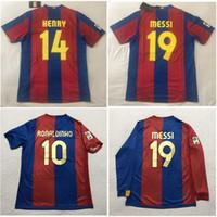 태국어 06 07 08 메시 레트로 축구 유니폼 Xavi 축구 셔츠 2006 2008 Ronaldinho Jersey Henry Classic Maillot 드 발