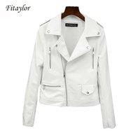 Fitaylor Yeni Bahar Sonbahar Kadın Biker Deri Ceket Yumuşak PU Punk Dış Giyim Rahat Motor Faux Deri Beyaz Ceket 201028