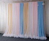 Decorazione del partito Blu Domestica di chiffon rosa Bridata Bridal Pografia multicolore Tulle Priorità Background Tenda Matrimonio Nato Doccia Baby Shower