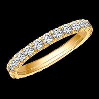Eaw Solid 14k 585 Oro bianco 1.2ctw 2mm DF Colore Eternity Band matrimonio Moissanite per le donne Anello da donna 0126
