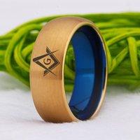 Vigselringar Masonic Ring Classic 8mm Mäns Tungsten Carbide Compass Square Gratis Mason Anniversary Gift Rings1