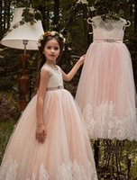 2018 New Pink Sheer Neck Lace Appliques Flower Girls' Dresses With Beaded Sash Cheap Princess Floor Length Pageant Gowns Little Girls