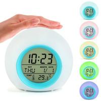 7 цветов LED Изменение цифровой будильник термометр стол Pat Night Light Glowing Cube LCD часы Домашнее украшение температура