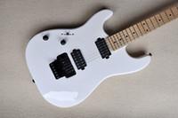 La guitarra eléctrica blanca zurda personalizada de la fábrica con el puente de rosa de Floyd, el fretboard de arce, el hardware negro, se puede personalizar