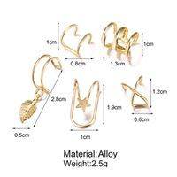 5pcs / Set Ear Cuff Gold Feuilles d'oreille sans piercing Fake Fake Cartilage Boucle d'oreilles bijoux pour w jllhmn