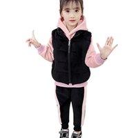 Abbigliamento Set per bambini Abiti caldi Abiti a maniche lunghe Casual 3pcs Autunno Inverno Bambini Plus Velvet Felpa spessa con felpa con cappuccio Set 4-13Y