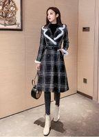 2020 Neues Design der Frauen Verdickung warmen Plaid abrigos SML Kragen Woll Schärpen Medium langen Mantel ausschlagen